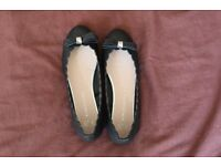 Ladies Size UK3 Black Flat Pumps with Bow