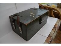 Wooden Ammo Box, dark green with hinges and leather carrying handles, lined