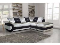 "Luxury Dino Crushed Velvet 3+2 Seater Sofa in Black n silver color.. ""Express Delivery"""
