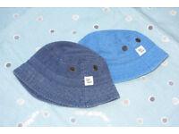 Boys Next Sun Hats, Age 3-6 Months, Cobalt & Dark Blue.