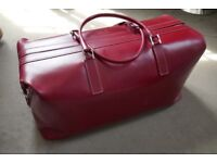 Tanner Krolle Top frame Holdall Size Large in red Bridal Leather