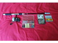 ABU Fishing reel and telescopic rod with hooks and flies