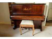 Classic wooden upright PIANO & STOOL J & J Hopkinson