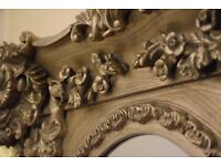 Antique/Ornate Shabby Chic Swept Frame Silver Mirror 1000x750mm