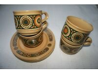 Genuine Vintage 1970s Kiln Craft Bacchus Cups Saucers Set 70s Retro Stylish Gift Present Bargain
