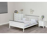 4FT6 Double White Pine Bed Frame with Grey Top Rails