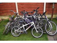 Job lot of Used Bikes, Frames, Wheels and Tyres