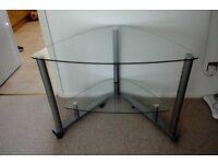 Corner glass computer table