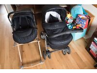 Silver Cross Sleepover Deluxe travel system in Ebony | Pram | Car seat | Moses Basket |