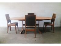 1970's mid century large ellipse G Plan dining table and chairs