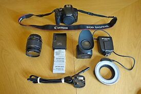 VGC Canon EOS 550d with 18-55mm lens + Macro Ring flash, 3 batteries and charger, Loupe for Video