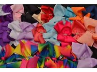Large Hair Bows - With Diamonte - mixed colours 10 for £11
