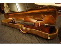 English antique violin with new bow and case