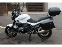 BMW R1200R, 2014, Dark White, 12,121 miles, Full luggage, many extras.