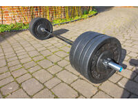 Bumper plates and barbell. Olympic weight plates