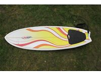 "NSP surfboard 5'8"" x 19"" thruster with leash"