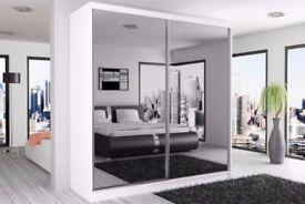 🔥💖💥Black Walnut & White🔥❤Brand New Full Mirror 2 Door Berlin Sliding Wardrobe w Shelves, Hanging