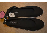 BNWT New Womens BLACK Loafers Flat Trainers balerines Shoes size 7 40