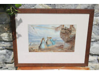 Vintage Painting Busy Bee At Shoreham After Myles Birket Foster Brighton Art Watercolour Picture