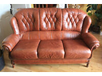 Italian Genuine Leather 3 Seater Sofa + Chair in Rust/Brown Colour