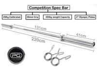 7ft Premium Olympic Bar Barbell Gym Weights 50mm 20kg Squat Bench Press Bearings