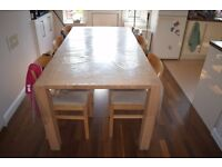 Dining able and chairs x 6