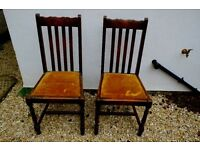 Two antique wooden chairs ? oak