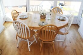 Natural Solid Wood Dinning Table Set - Extendable Dining Table with 8 Chairs