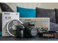 Pentax K-50 DSLR 50mm f2.0 Pentax-A Auto Lens