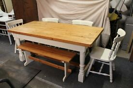 STUNNING SOLID PINE DINING SET WITH BENCH