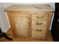 Unusual unique old pine vintage rustic kitchen storage cupboard with a flour drawer