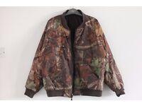 Vintage 90s Faux Leaves Bark Foliage Print Puffa Padded Bomber Jacket XL Rave Hipster Unisex