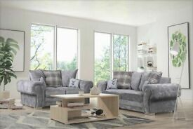 💯💯BRAND NEW VERONA CHESTERFIELD GREY PLUSH FABRIC 3+2 SOFA SUITE AND CORNER UNIT ON SALE!!