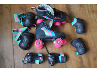 Rio Roller Skates Size 4 plus Helmet and Protection