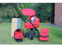 Bebecar Travel system, Pram, 2 way facing pushchair, car seat & new black pushchair seat included