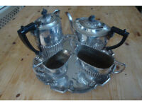Vintage 4 Piece Silver Plated Tea Set, Ribbed, plus Silver Plated Tray