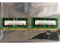 Laptop RAM: HYMP512S64BP8-Y5 AB-T (pair of chips), Hynix DDR2, 2x1GB (2GB pair), 667MHz
