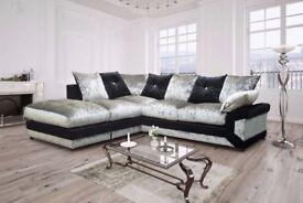 BEST SELLING BRAND- Black Silver Brand New Dino Vegas Crush Velvet Corner or 3 and 2 seater sofa set