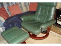 Green Leather Swivel Reclining Chair and Stool