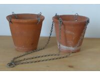 RARE! Two Matching Antique Vintage Clay / Terracotta Flower Pots with the Hanging Basket fitments.