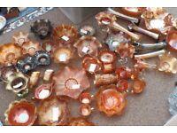Huge Lot of Carnival Glass Bowls Vases Cups etc