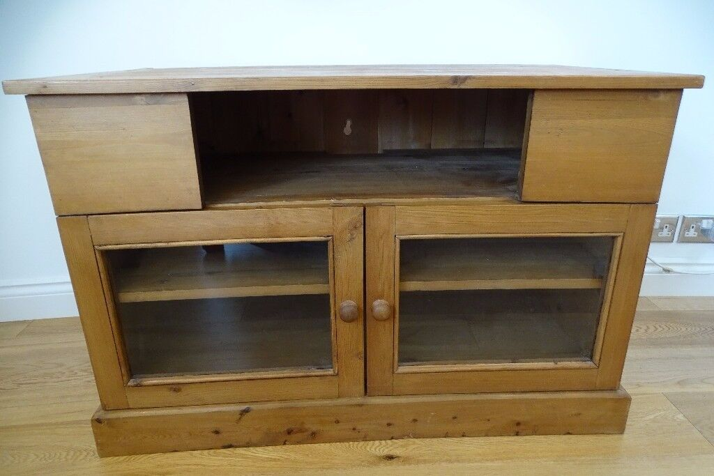 Antique Vintage Pine Tv Stand Home Entertainment Cabinet Unit With