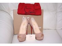 Louboutin Rare Limited Edition Lady Peep Nude Spikes 150 Patent Shoes