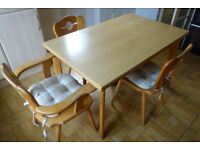 WOODEN KITCHEN TABLE WITH 3 CHAIRS