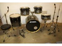 Tama Superstar Silver to Black Fade 5 Piece Full Drum Kit (22in Bass) + All Stands + Paiste Cymbals