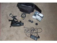Classic tape video camera complete with cabling & multiple tapes