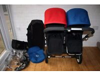 Bugaboo Donkey twin double pram blue and red CAN POST