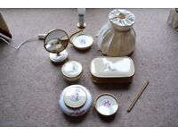 LISSCO 1960s DRESSING TABLE SET ACCESSORIES, 7 ITEMS, LAMP, MIRROR, BOWLS, JEWELLERY BOX, ETC - RARE
