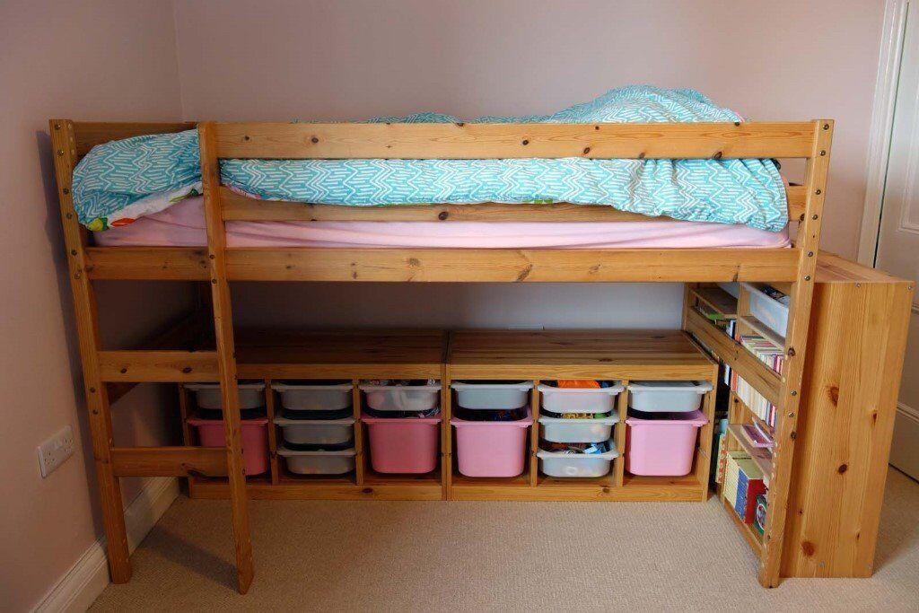 Wooden Bunk Bed Top Empty Below Space For Storage Desk