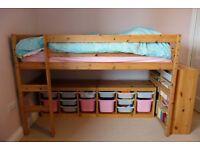 Wooden Bunk Bed (top, empty bunk below - space for storage/desk)